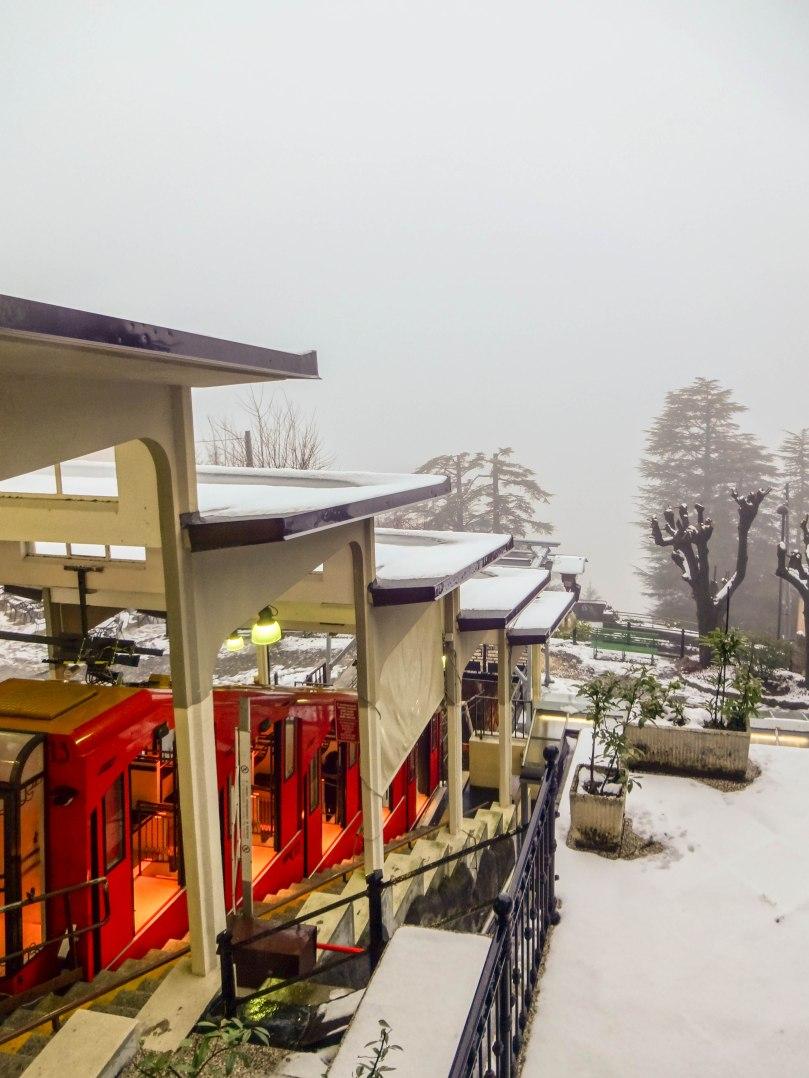 Funicular e a névoa que impedia a vista do Lago Como!